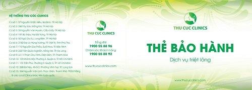 thẻ bảo hành dịch vụ triệt lông tại Thu Cúc Clinics