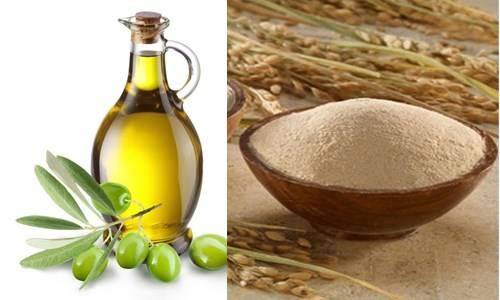 Trị viêm nang lông bằng cám gạo kết hợp dầu oliu đem lại hiệu quả nhanh chóng.