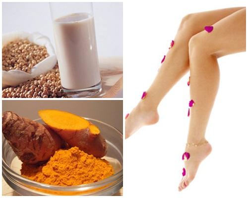 Cách tẩy lông chân bằng đậu nành và bột nghệ