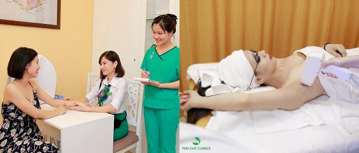 Khách hàng triệt lông bằng công nghệDiode Lasertại Thu Cúc Clinics