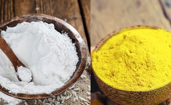 Mặt nạ cám gạo và bột nghệ giúp làn da trắng hồng và căng mịn., loại bỏ các hắc sắc tố gây sạm đen.