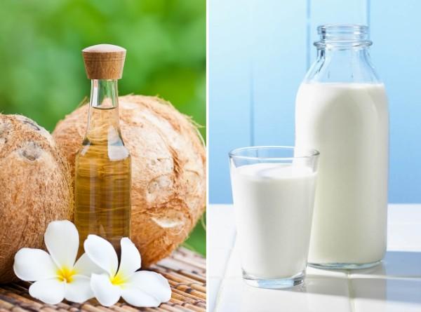 Cách tắm trắng bằng dầu dừa và sữa tươi được các chị em áp dụng rất phổ biến ngay tại nhà.